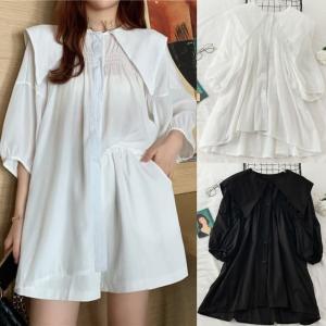 プリーツ シャツ ブラウス 大きい襟 5分袖 韓国ファッション レディース ゆったり ガーリー