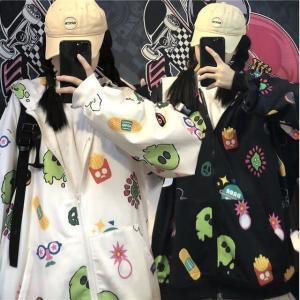 ジップアップ パーカー 韓国ファッション レディース オーバーサイズ ストリート カジュアル