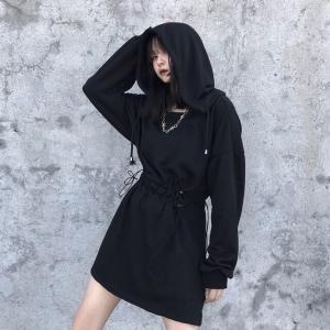 パーカーワンピース ウエストコード 刺繍 韓国ファッション レディース ワンピース 暗黒系