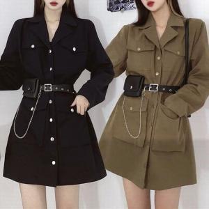 ワンピース ベルト付き ポケットチェーン ジャケット風 韓国ファッション レディース ガーリー