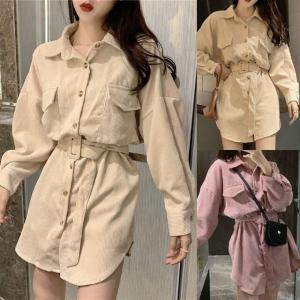 ベルト付き コーデュロイジャケット コーデュロイシャツ 韓国ファッション レディース 大人可愛い