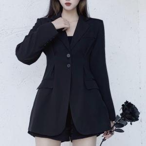 テーラードジャケット ウエストシェイプ ロング丈 韓国ファッション レディース 大人可愛い