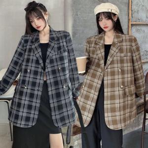 チェック柄 テーラードジャケット ルーズ 韓国ファッション レディース ジャケット ダブルブレス