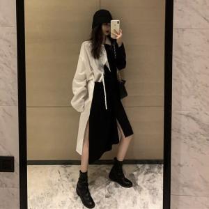 不規則デザイン シャツワンピース アシンメトリー サイドスリット 韓国ファッション レディース
