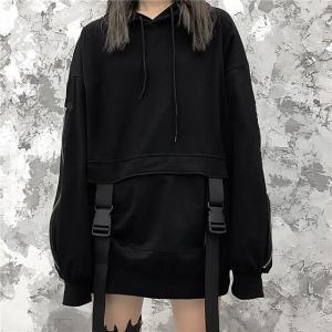 プルオーバー パーカー ユニセックス 袖ジッパー バックル 韓国ファッション オーバーサイズ