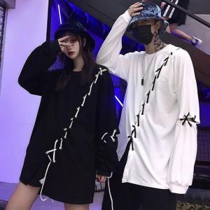 Tシャツ ユニセックス 長袖 ロンT ストラップ 韓国ファッション オーバーサイズ ストリート