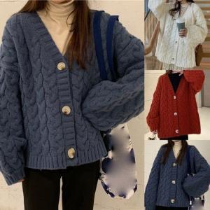 ニット カーディガン ケーブル編み ボリューム袖 韓国ファッション レディース 厚い 大人可愛い