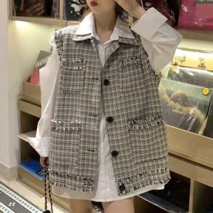 着回し力抜群 チェック柄 ベスト ツイード 韓国ファッション レディース 折襟 フリンジ ルーズ