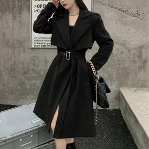 ツーピース ロングコート + ベスト 韓国ファッション レディース ベルト付き ウール ロング丈