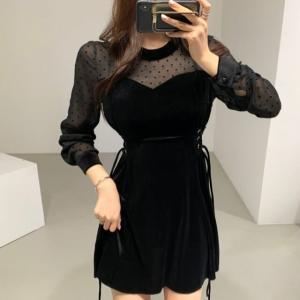 ハート ドット シースルー ワンピース 韓国ファッション レディース ベルベット 大人可愛い