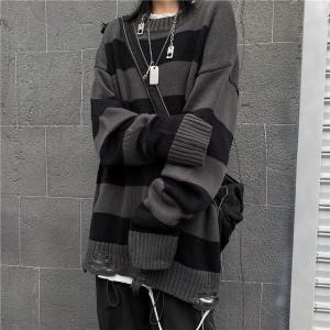 ユニセックス ダメージ加工 ボーダーニット ドロップショルダー 韓国ファッション ストリート系