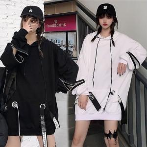 袖ジップ パーカー ストラップ オーバーサイズ 韓国ファッション レディース ストリート系