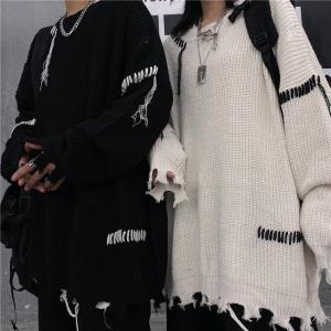 ユニセックス ダメージ加工 ニット ドロップショルダー 韓国ファッション ビター系 ストリート系