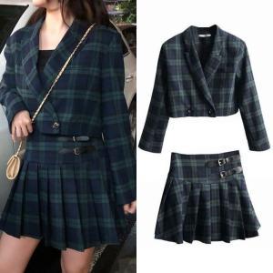 セットアップ チェック柄 ショートジャケット + プリーツスカート 韓国ファッション レディース