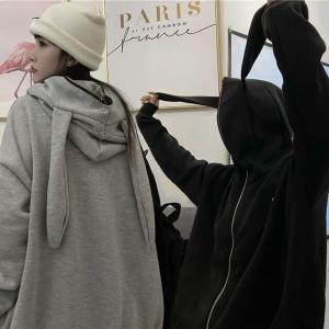 パーカー ウサギ耳 フードジップ ルーズ ゆったり 韓国ファッション レディース ストリート系