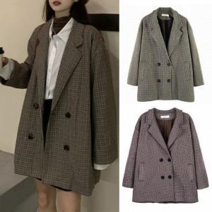 チェック柄 テーラードジャケット 韓国ファッション レディース ロングジャケット 大人可愛い