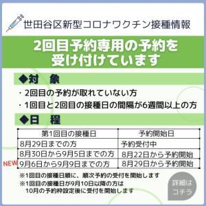 世田谷区ワクチン接種2回目専用予約受け付けています。