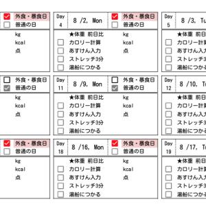 7/29(木)減量キープ2ヶ月目:明日から1ヶ月間の予定と目標