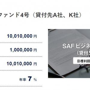 SAMURAIから2案件の元本償還がありました。