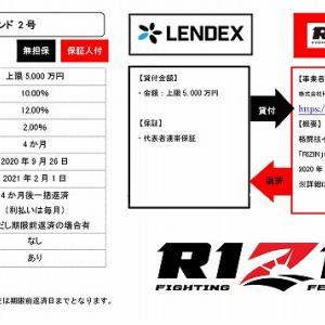 【登録でギフト券実施中】LENDEXでRIZINファンド第2弾登場!