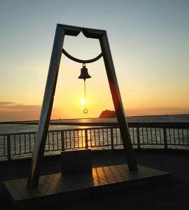 #283 The sunset view Muroran 室蘭夕陽と大黒島を幸せの鐘からフレーム