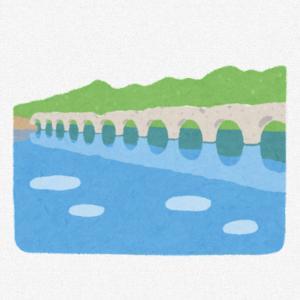 タウシュベツ川橋梁の無料イラスト(いらすとや)旧国鉄士幌線が通っていた北海道上士幌町の糠平湖