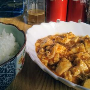 麻婆豆腐食べながらニュース見てます