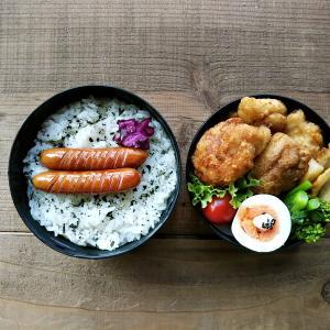 唐揚げ弁当と摘み菜