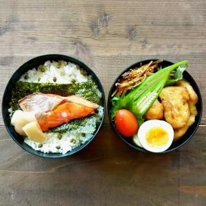 焼き鮭と胸肉の唐揚げ弁当