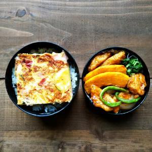 スパニッシュオムレツと酢鶏弁当、朝ご飯