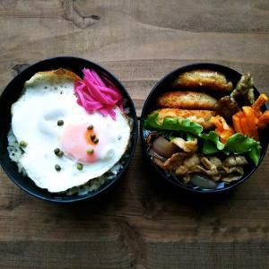 目玉焼きで弁当と陳健一の麻婆豆腐