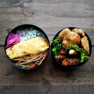 胸肉の唐揚げ弁当と自分用のランチ