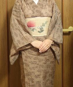 麻の着物で向日葵を見に行く