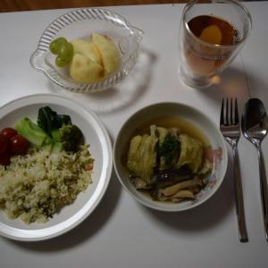ピラフとロールキャベツの食事