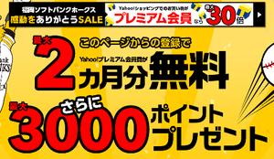 Yahoo!プレミアムに会員登録で2ヶ月分無料&最大3000pプレゼント!