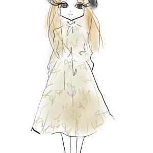 大人かわいいレースのセットアップコーデ 春っぽカラーでふんわりスカートをアピール