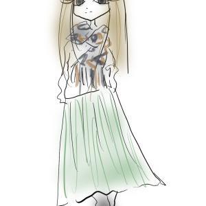 キレイ色の軽やかプリーツスカートコーデ ウエストがゴロつかないすっきりヒップライン