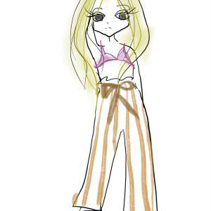 部屋で着るならパジャマパンツでしょコーデ|太めストライプがおしゃれなルームウェア