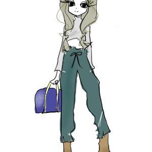 ハリのある生地のジョガーパンツ|裾スリットでブーツも合わせやすい