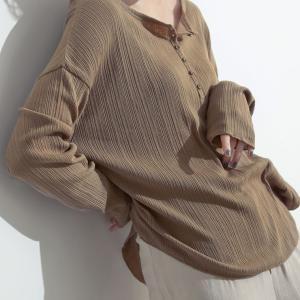 Re:EDIT‐リエディ [サステナブル]オーガニックコットンランダムリブヘンリーロングTシャツ