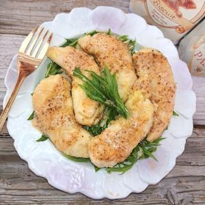 罪悪感なし、ささみのオリーブ焼き水菜とごまドレッシング(ヘルシー、ダイエット)漬け込み不要