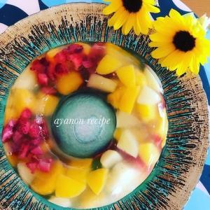 フルーツの浮き輪ゼリー🌻あの夏のように ひまわりが 今咲きました