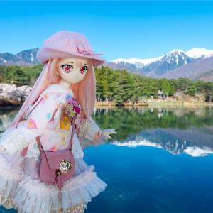 桜と雪山と水鏡をバックに、ドール撮影😊 あと友だちと宅飲みしたり4ヶ月ぶりにラーメン食ったり
