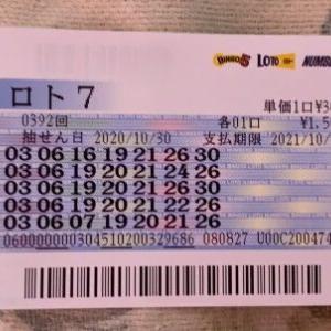 【ロト7】10月30日 392回結果 6等3本、5等1本!