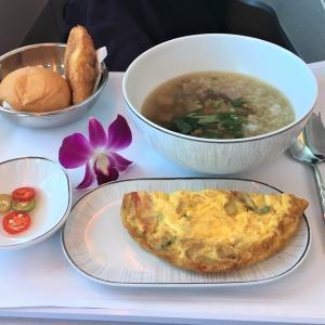 バンコク発午前便、TG672の機内食朝食バージョン~ロイヤルシルククラス編~