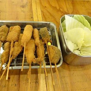 大阪満マルの西鉄二日市前店限定の昼飲みセットはプレミアムモルツと串カツ5本で750円とお得!