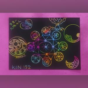 13の月の暦 KIN152 黄色い太陽の人のスクラッチ曼荼羅アート