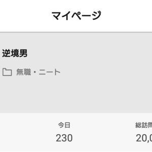 ブログの訪問者数が2万人になった