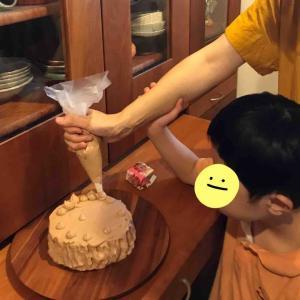 中2長男★父親の誕生日にケーキ作り
