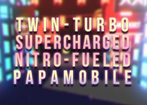 未来の都市のサイバーレーシングゲーム Twin-Turbo Supercharged Nitro-Fueled Papamobile